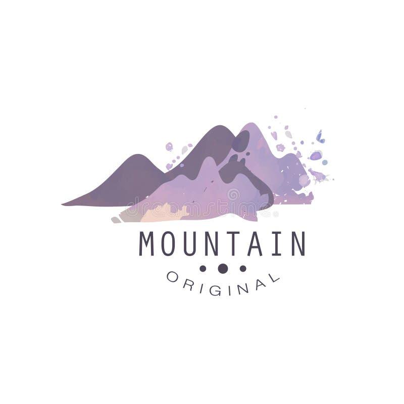 Mountain original logo, tourism, hiking and outdoor adventures emblem, retro wilderness badge vector Illustration royalty free illustration