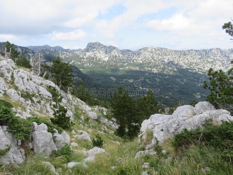 Mountain Orjen Montenegro rocky landscape and green valley. Seen from the hiking trail in summer 2019 stock photos