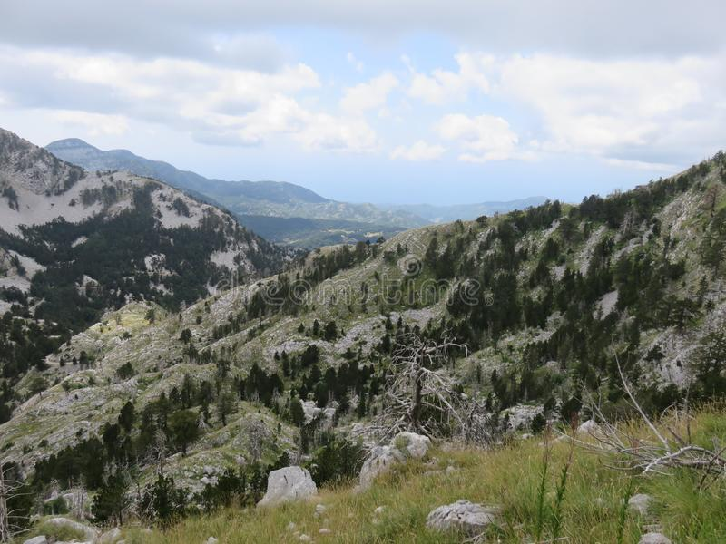 Mountain Orjen Montenegro rocky landscape green valley. Seen from the hiking trail in summer 2019 royalty free stock photos