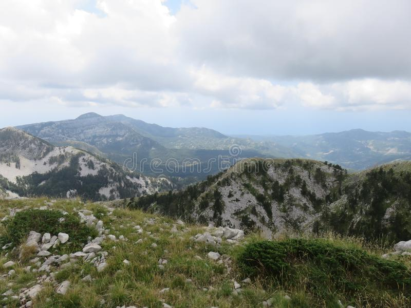 Mountain Orjen Montenegro rocky landscape green valley. Seen from the hiking trail in summer 2019 stock images