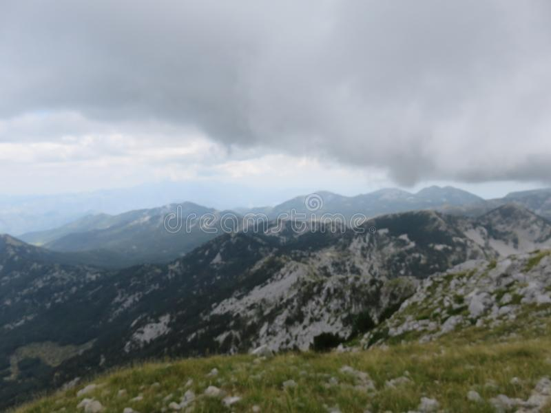 Mountain Orjen Montenegro rocky landscape green valley. Seen from the hiking trail in summer 2019 royalty free stock photography