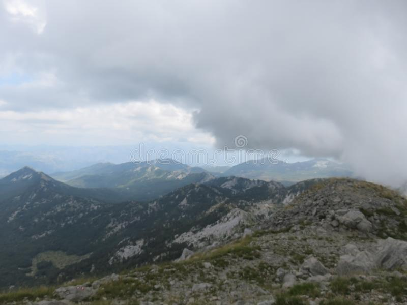 Mountain Orjen Montenegro rocky landscape green valley. Seen from the hiking trail in summer 2019 stock image