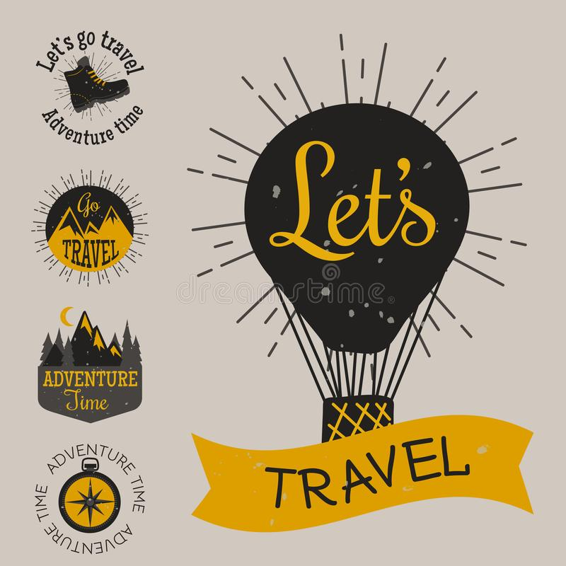 Mountain outdoor vector camping travel hand drawn labels climbing and hiking badges peak extreme illustration. vector illustration