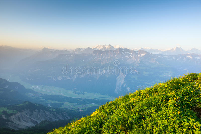 Mountain panorama from Brienzer Rothorn stock photo