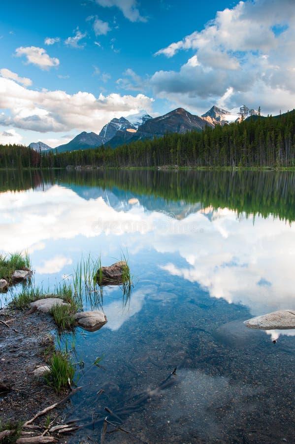 Mountain panorama from Herbert Lake royalty free stock image