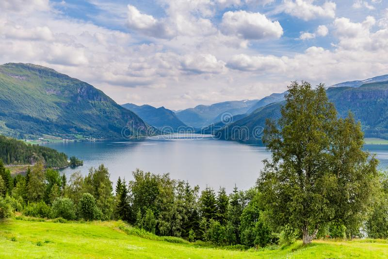 Lake Haukedasvatnet Norway. Mountain panorama with lake Haukedasvatnet near Forde in Sogn og Fjorden county in Norway royalty free stock photo