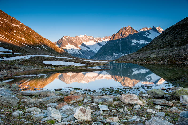 Mountain panorama from Maerjelensee stock photography