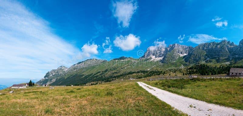 Mountain panorama of the Montasio plateau, Italy. Mountain panorama of the Montasio plateau, Italy royalty free stock photos