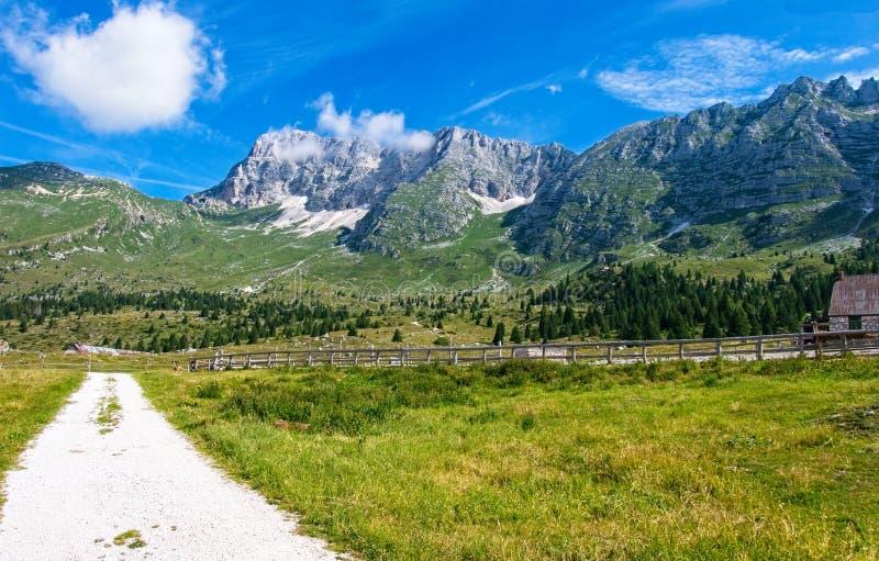 Mountain panorama of the Montasio plateau, Italy. Mountain panorama of the Montasio plateau, Italy stock photography