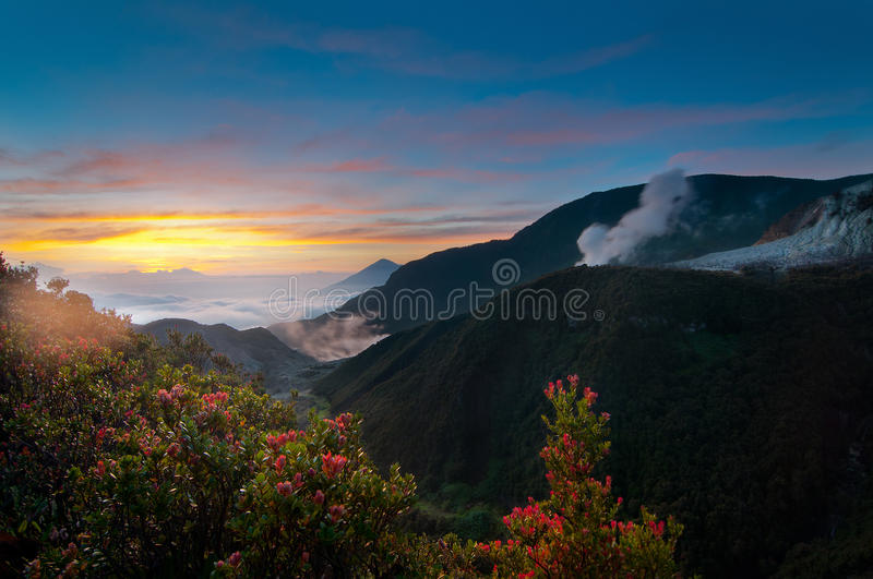Mountain Papandayan Sunrise View, West Java Indonesia. Mount Papandayan is a complex stratovolcano, located in Garut Regency, to the southeast of the city of stock photography