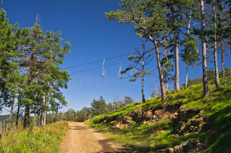 Mountain path below ropeway at Divcibare. West Serbia royalty free stock images