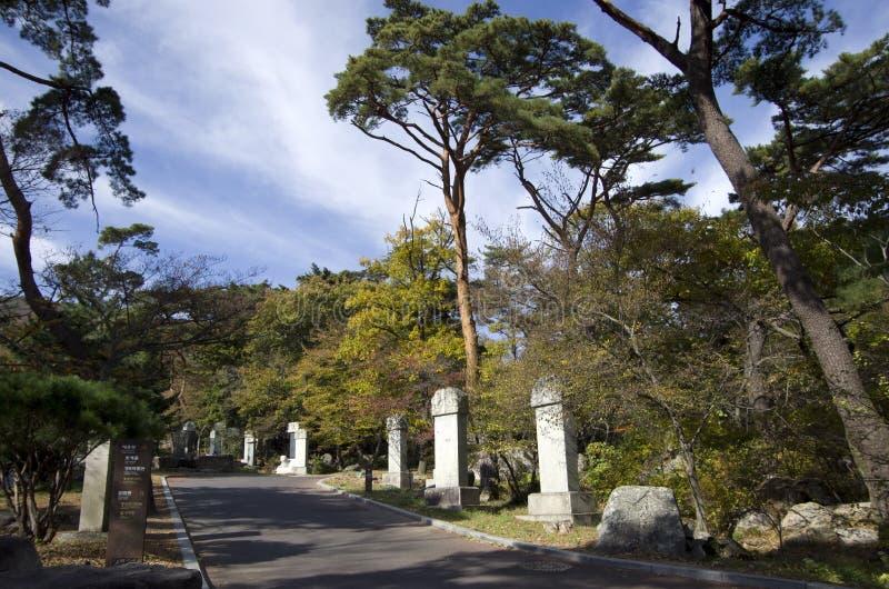 Mountain path to temple stock photo