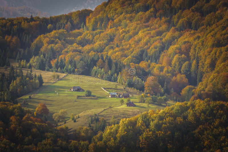 Mountain Peak in Autumn Afternoon Light. Carpathian Mountains royalty free stock image