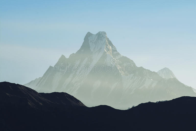 Download Mountain Peak With Blue Sky In Nepal Stock Photo - Image: 83724775