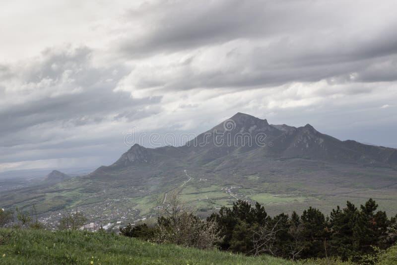 Mountain peak clouds valley royalty free stock photos