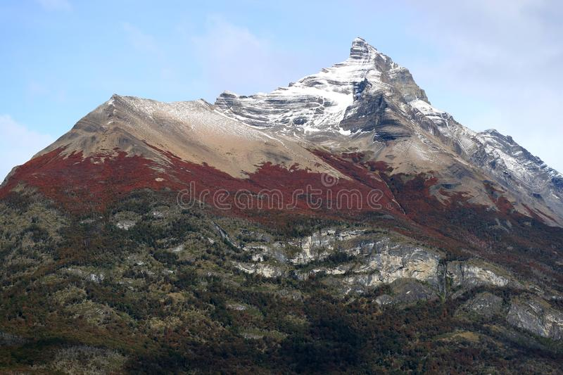 Mountain peak in the color of autumn, Los Glaciares National Park, Santa Cruz Province, Patagonia, Argentina. Nature Background royalty free stock photography