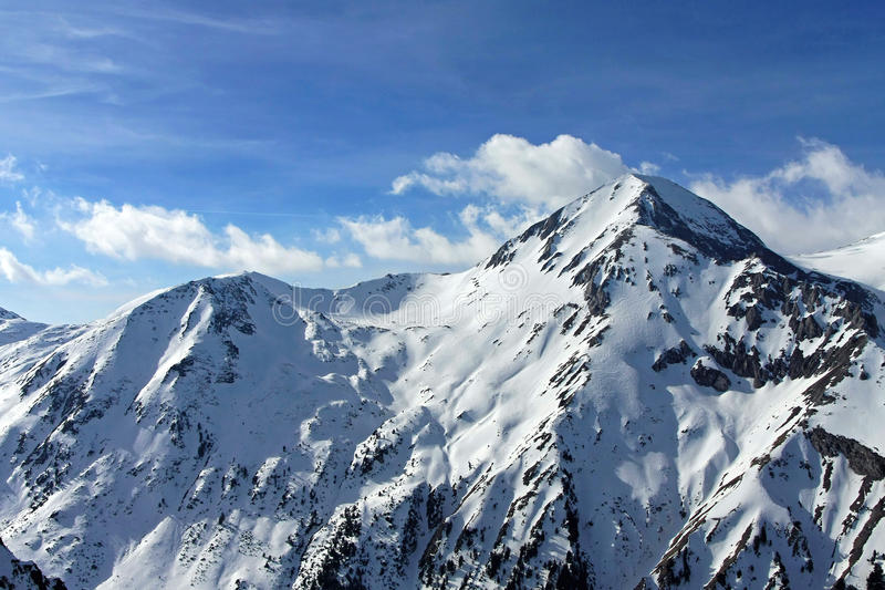 Mountain peak. Covered in snow at winter royalty free stock images