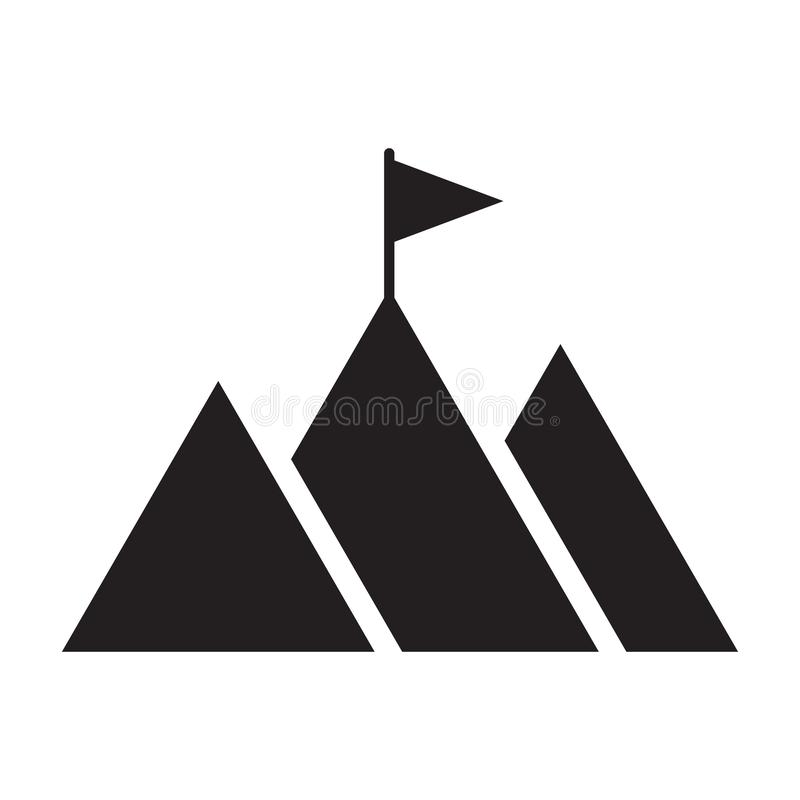 Mountain peak with flag icon. Goal achievement. Business success concept. Vector illustration isolated on white background stock illustration