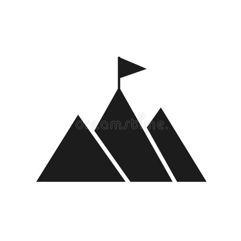 Mountain peak with flag icon. Goal achievement. Business success concept. Winning of competition or triumph design royalty free illustration