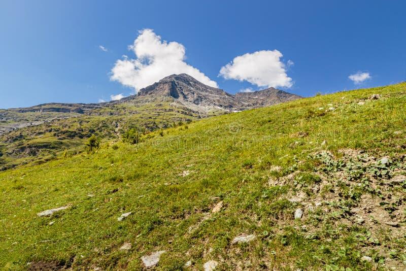 Mountain peak pastures blue sky royalty free stock image