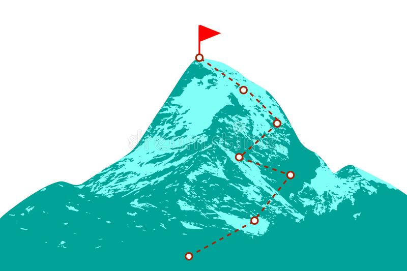 Mountain peak with route. Mountain peak with climbing route royalty free illustration