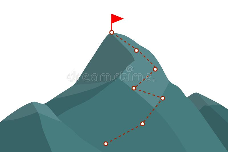 Mountain peak with route royalty free illustration