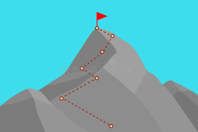 Mountain peak with route. Mountain peak with climbing route . Template for your design royalty free illustration
