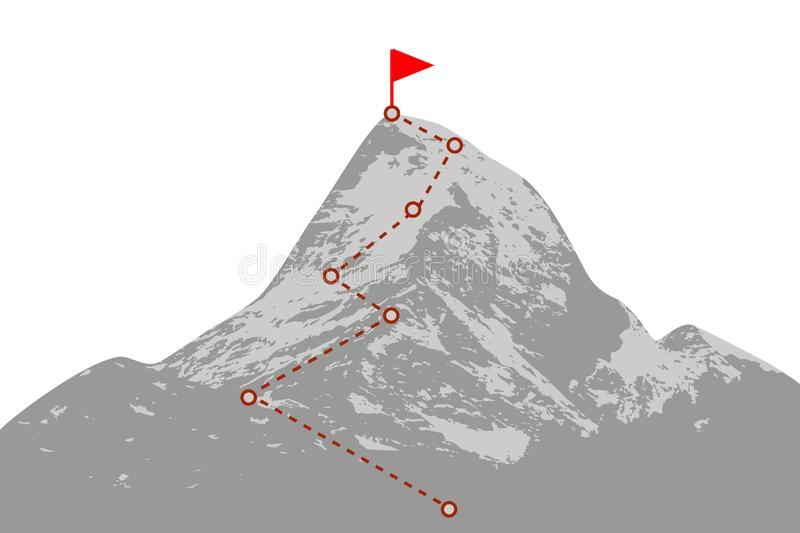Mountain peak with route. Mountain peak with climbing route vector illustration
