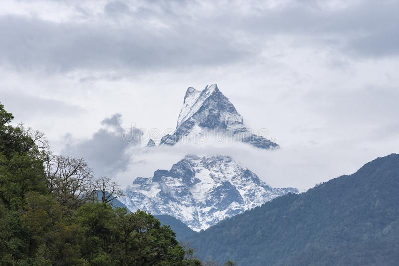 Mountain peak with snow, cloud and fog, Himalayas, Nepal royalty free stock image