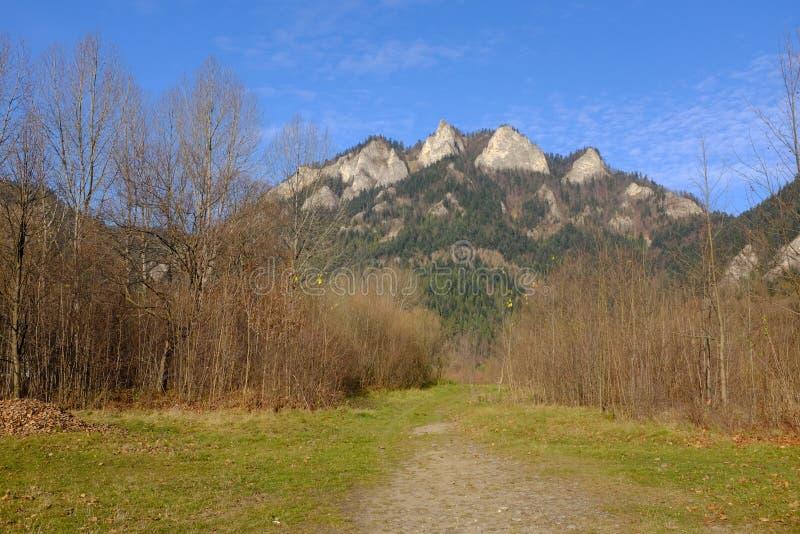 Mountain peak three crowns in the pieniny mountains. Pieniny mountains at the autumn stock photo
