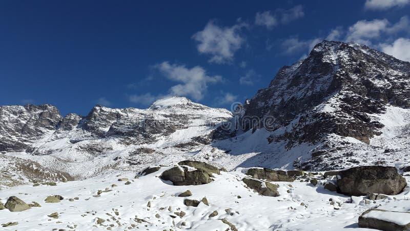 Mountain peak in winter royalty free stock photos