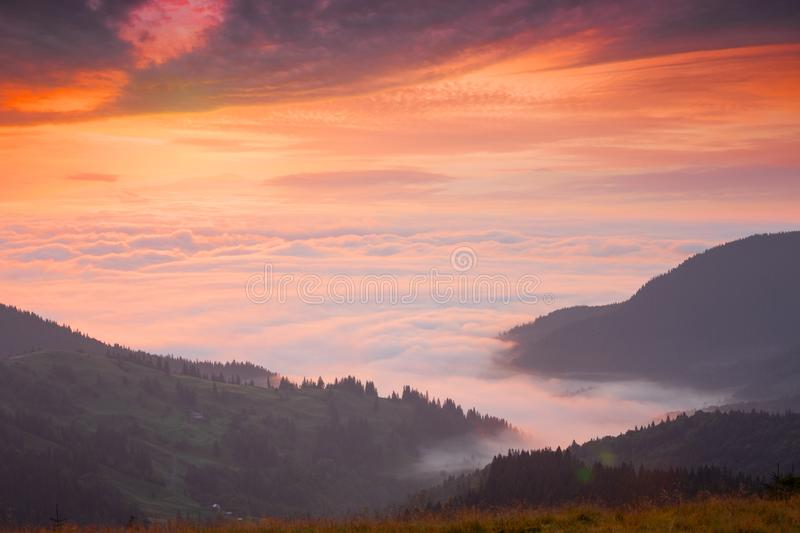 Mountain peaks above the clouds at sunset. Dramatic sky stock photos