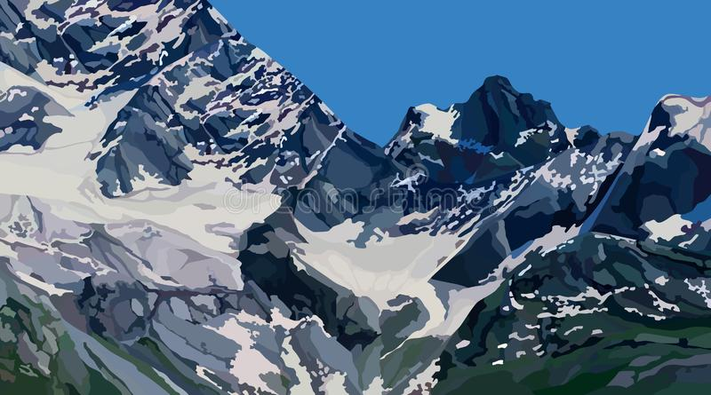 Mountain peaks background with snow on a clear day vector illustration