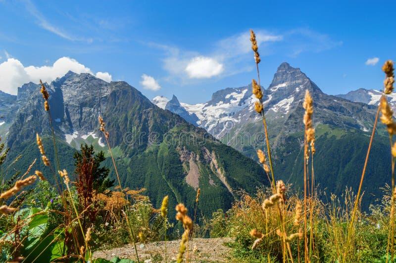 Mountain peaks in Dombai, West Caucasus, Russia stock image