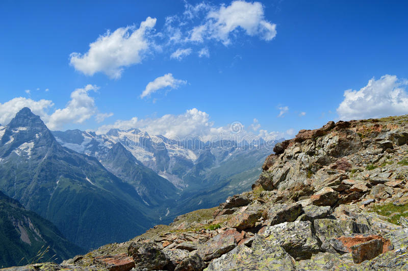 Mountain peaks, glaciers and valleys at Caucasus royalty free stock image
