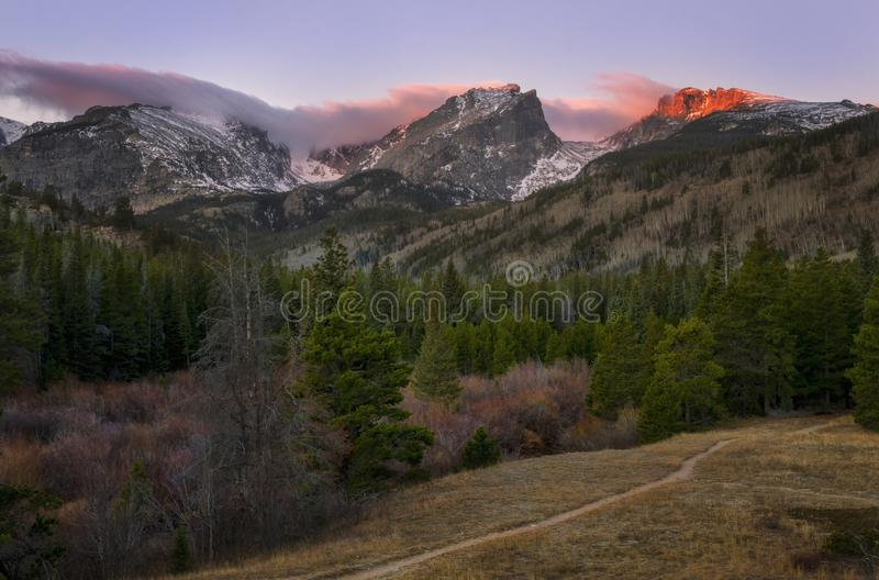 Sunrise in Rocky Mountain National Park Estes Park Colorado royalty free stock images