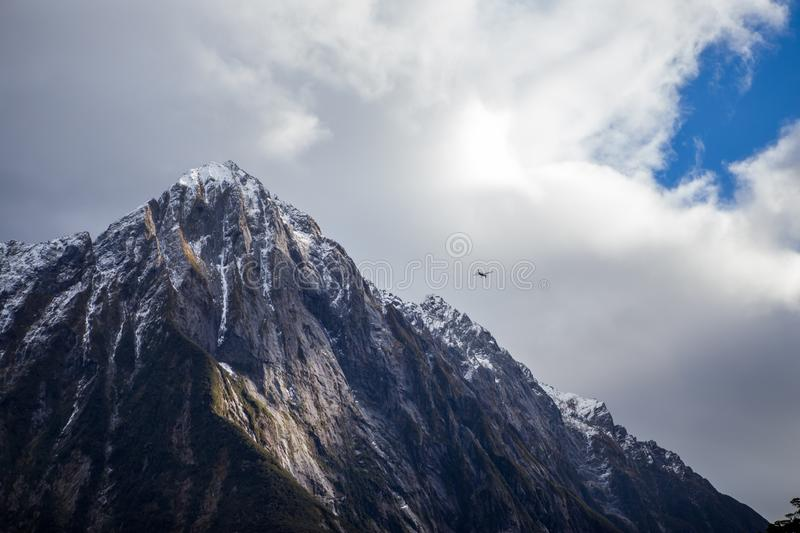 Milford Sound Mountain Peaks and Water Ripples royalty free stock photos