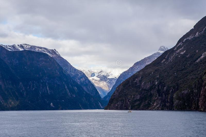 Milford Sound Mountains in Water stock image