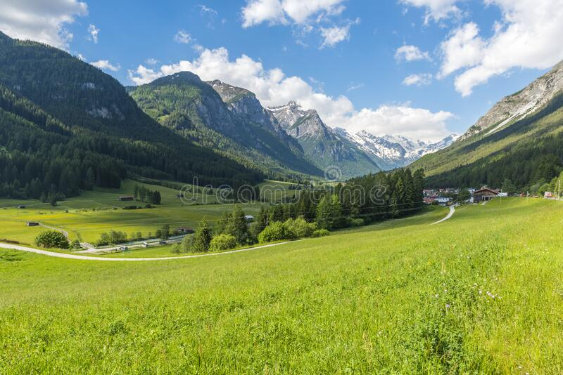 Mountain peaks near Alpine town Trins. Mighty Alpine peaks near small town Trins - not far from Brenner pass - in Austria stock photography