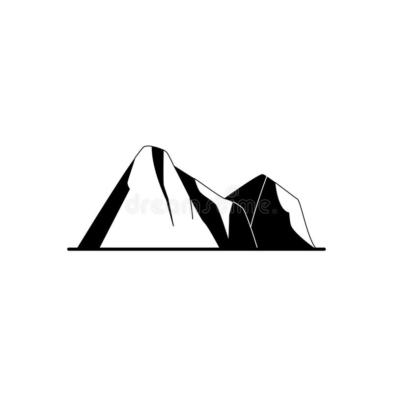 Mountain peaks silhouette icon in flat style royalty free illustration