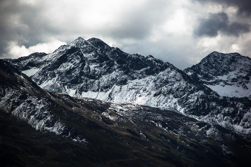 Mountain peaks. Mountain snow peaks in the Alps stock photography