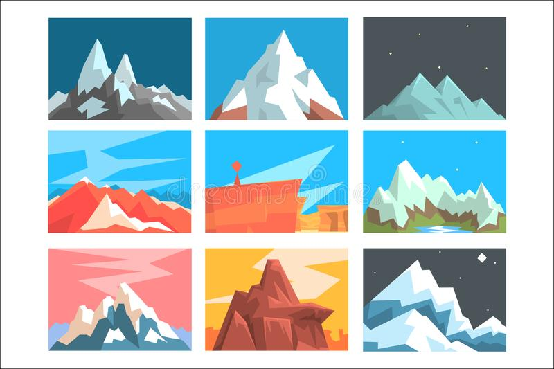 Mountain Peaks And Summits Landscape Vector Illustration Set With Mountains Of Different Geographic Zones. Geometric Cartoon Stylized Natural Rock Scenery royalty free illustration