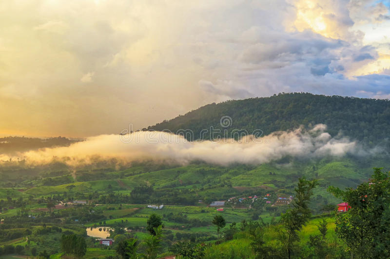 A Mountain in Petchaboon, Thailand. A Mountain with fog in Petchaboon, Thailand stock photo