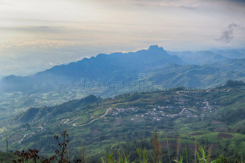 A Mountain in Petchaboon, Thailand. A Mountain with fog in Petchaboon, Thailand stock photography