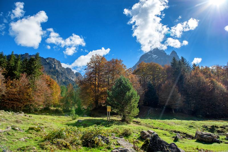 Mountain of Pic Du Midi Ossau in autumn, France, Pyrenees stock photography