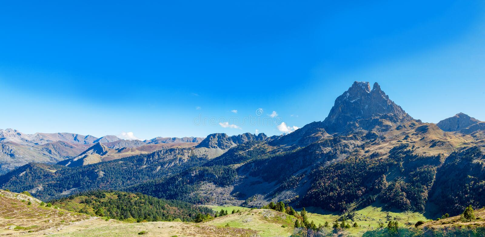 Mountain of Pic Du Midi Ossau in autumn, France, Pyrenees royalty free stock image