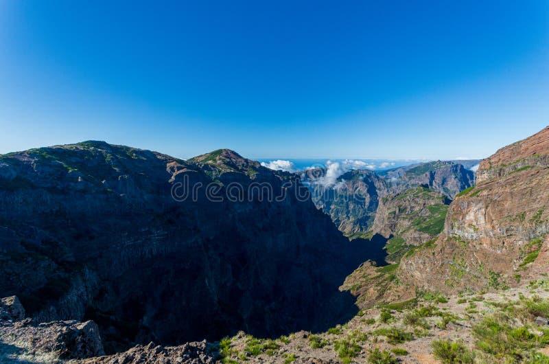From mountain Pico Arieiro to Pico Ruivo royalty free stock photo