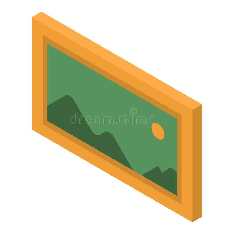 Mountain picture icon, isometric style stock illustration