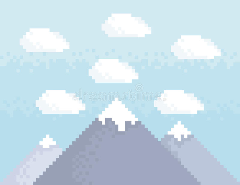 Mountain pixel art vector illustration
