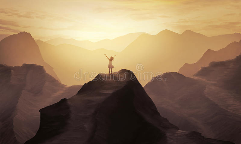Mountain praise. A woman stands alone on a mountain with her hands in praise